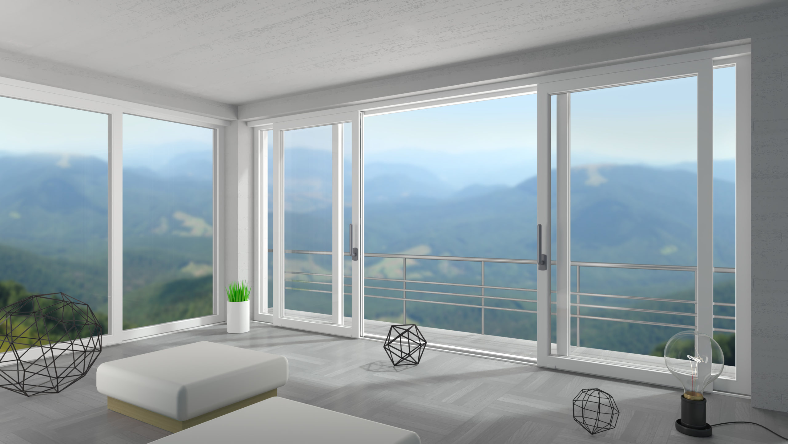 3d illustration. Interior of a modern villa. Panoramic sliding windows and doors. Loft. House or hotel on the sea. Natural landscape. Mountain chalet